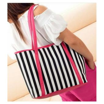 Freeshop Tas Wanita Women Fashion PU Tote Leather Handsbags Shoulder Bag Tote Bag Stripe Branded Import Korean Elegant Bag Style - Pink