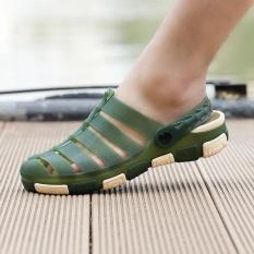 Fshion Men's Hollow Out Flat Shoes Rainy Season Breathable Beach Sandal(Green) - intl