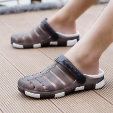 Fshion Men's Hollow Out Flat Shoes Rainy Season Breathable Beach Sandal(Grey) - intl