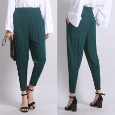 Full Length Elasticated Waist Chiffon Loose Women Deep Green Harem Pants Trousers