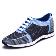 G5616 Summer Men's 6 Cm Taller Elevator Shoes Blue Air Mesh Oxfords Shoes Lace Up Breathable Casual (Intl)