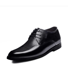G816640 Summer New Men's 2.56 Inch Taller Black Calfskin Leather Height Increasing Elevator Shoes Hollow Out (Intl)