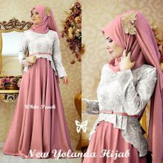 Gamis / Baju / Pakaian wanita Muslim Yolanda Syari White Peach