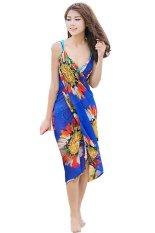 Gaun pantai V peringkat teratas dalam bungkus kain sutera tipis Bohemia pakaian renang menutupi (biru)- International