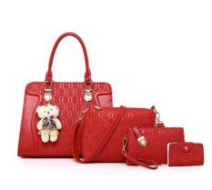 Genevieve Dc6831 Red - Handbags 4 In 1 (Handbag, Slingbag, Clutch And Wallet) - Free Teddy Keychain