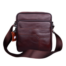 Genuine Leather Men Messenger Bags High Quality Vintage Real Cowhide Leather Corssbody Bag Casual Travel Bags Brown