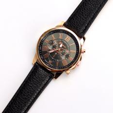 JinGle Geneva Fashion Casual Gold Case PU Leather Band Women's Ladies Wrist Watch (Black)