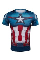 Ghope American Captain T-shirt Men Short Sleeve Summer Version Shirt Captain Avengers Iron Man Superman Style T-shirt (Export) (Intl)