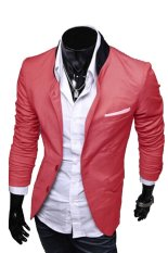 Ghope Korean Edition Suits Casual Men's Stand Collar Jacket Red (Intl)
