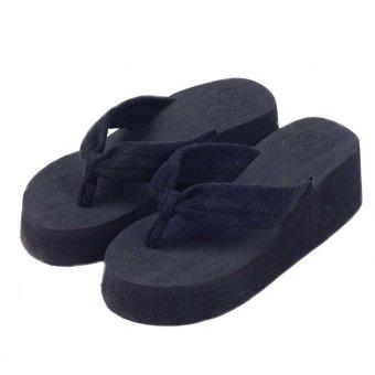 5b79e0a73e1f Girl Bow High Heel Wedge Shoes Sponge Platform Sandal Wedge Flip-flops Black