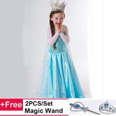 Girls Cosplay Halloween Costumes Putri Anak Beku Anna Elsa Dresses - intl