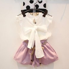 Girls Summer Set White Bow Button Butterfly Blouses Soft Shorts with Sashes Two Pieces Suit Children Casual Clothes Set - intl