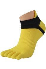 Gracefulvara 1 Pair Boys Men's Cotton Toe Socks Sports Five Finger Socks Breathable (Yellow)