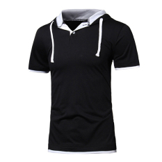 Gracefulvara Cool Men's Slim Fit Short Sleeve Sweatshirt Gym Casual Hoodie Shirt Tee Polo T-shirt