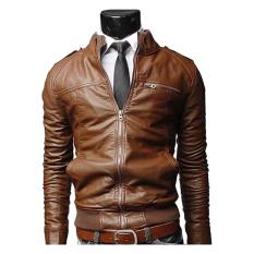 Gracefulvara Fashion Men's Motorcycle Leather Jacket Slim Coat Outwear (Brown)