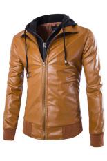 Gracefulvara Fashion Men's Slim Fit Detachable Hooded Jacket Motorcycle PU Leather Coat (Light Brown)