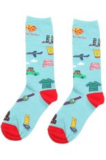 Gracefulvara Fashion Women Girls Soft Cotton Cartoon High Socks Hosiery Casual Stockings (Light Blue)