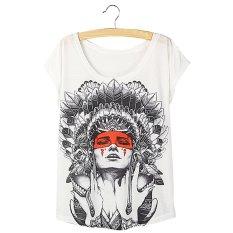 Gracefulvara Fashion Women Lady Batwing Sleeve Summer T-shirt Tops Floral Printing Casual Loose Shirt - F