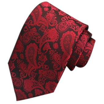 Gracefulvara Jacquard Woven Fashion Men's Wedding Party Silk Tie Classic Necktie (Red)