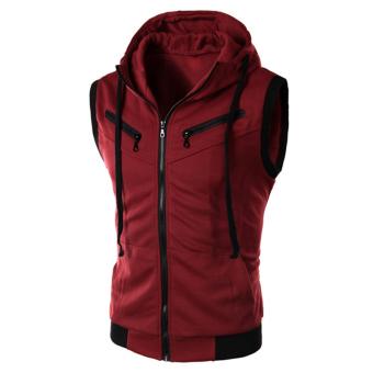Gracefulvara Men's Fashion Casual Style Sleeveless Slim Fit Hooded Vest Waistcoat Hoodies (Wine Red)