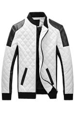 Gracefulvara Men's Fashion Coat Stand Collar PU Leather Motorcycle Jacket Rhombus Patterned Outwear (White)