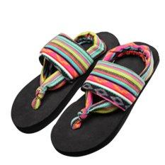 Gracefulvara Women's Summer Bohemia Flat Beach Flip Flops Cotton Rubber Sole Thong Sandals Shoes