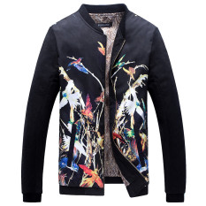 Grandwish Men Floral Pattern Printing Bomber Jackets Stand Collar Coat M-5XL (1)