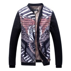 Grandwish Men Floral Pattern Printing Bomber Jackets Stand Collar Coat M-5XL (4)