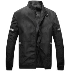 Grandwish Men Lightweight Jackets Stand Collar Patch Designs Sportswear Coat Plus Size M-4XL (Black)