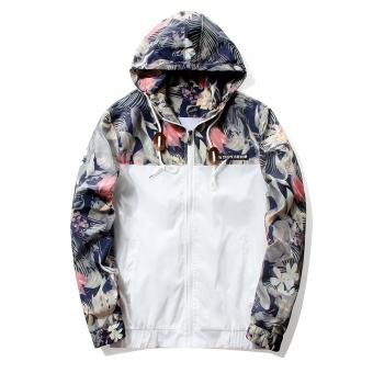 Grandwish Men Floral Printing Jackets Hoodies Slim Bomber Jackets M-4XL (White)