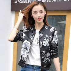 Grandwish Women Floral Print Jackets Baseball Uniform Coat Slim S-2XL (5)