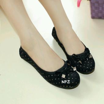 Gratica Sepatu Flat Flatshoes Laser Black NFZ-09bt