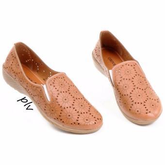 Pluvia - Grivera Sepatu Flat Shoes Wanita Terbaru Laser B20 - Tan
