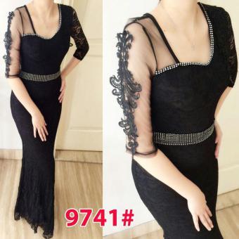 Grosir Dress-Long Dress Brukrat 9741 Black