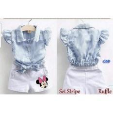 GSD-Setelan Baju Celana Pendek Anak Cewe-Set Stripe Ruffle