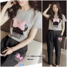 GSD-Setelan Baju Cewe Set Ribbon Minnie Black