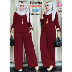 GSD-Setelan Baju Muslim Polos Wanita-Set Levita Maroon