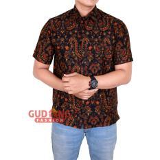 Gudang Fashion - Kemeja Batik Modern Pria Lengan Pendek - Coklat Tua