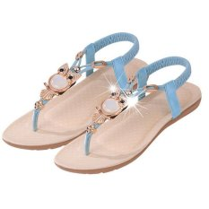Hang-Qiao Fashion New Flat Shoes Plus Size Sandals Women Shoes Comfort Rhinestone Flip-flops Blue