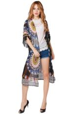 Hang-Qiao Summer Women Tops Blouse Floral Tassel Sun Shirts Coat Multicolor