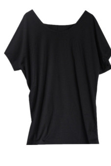 Hang-Qiao Women Sexy T-shirt Short Sleeve Backless Tops Blouses HOT Black