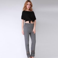 Hang-Qiao Women Vintage Loose Long Trousers Lace Patchwork Casual Pants Dark Grey - Intl