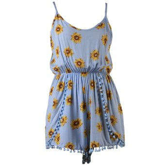 3fe83bade65 Hanyu Women Sexy Straps Sunflower Print Jumpsuits Short Rompers Vintage  Style Plus Size Light Blue