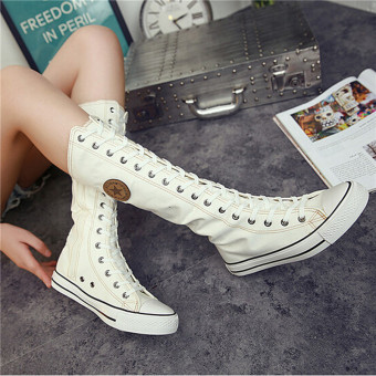Hanyu Women's Canvas Boots Lace Zip Knee High Boots Girls Flats Casual Tall Punk Boots Shoes White - intl