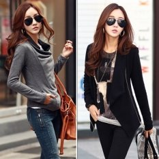 Happycat 2016 Ladies Women Asymmetric Neck Long Sleeve Pure Color Cotton Blend Zipper Casual Loose Coat-black-L