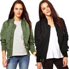 Happycat 2016 Ladies Women Sport Casual Classic Zip Up Biker Jacket Baseball Jacket-army Green-M