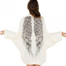 Happycat 2016 New Fashion Ladies Women Long Sleeve Open Stitch Print Thin Coat--