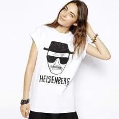 Happycat New Women's Summer Short Sleeve Casual Loose White Basic Sketch Print Tshirt Letter Heisenberg Shirt Blouse Tees (White) (XL) - Intl - Intl