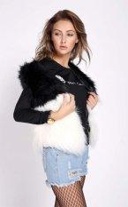 Happycat Winter Women Faux Fur Vest Sleeveless Outerwear Jacket Coat Waistcoat (Black) (M)