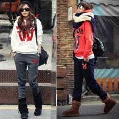 Happycat Women Casual Letter Print Suit Hoodie Sweatshirt Sports Coat Tracksuit (Red) (XL) - Intl